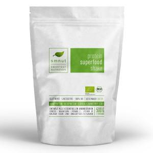 smnut Bio Protein Superfood Shake, veganes Proteinpulver Natur (1 x 500 g)