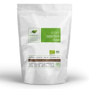Schoko – smnut Bio Protein Superfood Shake, veganes Proteinpulver Kakao (1 x 500 g)