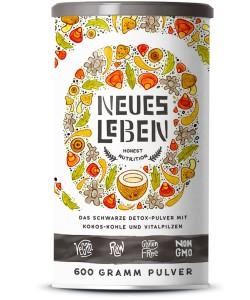 Neues Leben – Die Schwarze Kraftformel mit Aktivkohle, Matcha, Aloe Vera, Vitalpilzen und mehr – 600 Gramm Pulver (Kokos)
