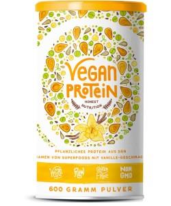 Vegan Protein (Vanille) – Reis-, Hanf-, Soja-, Erbsen-, Chia-, Sonnenblumen- und Kürbiskernprotein + Kokosmilch, Superfoods und Verdauungsenzymen – 600 Gramm Pulver mit natürlichem Vanillegeschmack
