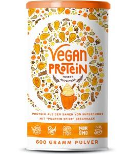 Vegan Protein (Pumpkin Spice) – Protein aus Reis, Hanfsamen, Lupinen, Erbsen, Chia-Samen, Leinsamen, Amaranth, Sonnenblumen- und Kürbiskernen – 600 Gramm Pulver mit natürlichem Pumpkin Spice Geschmack