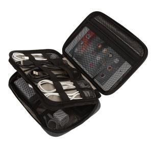 BAGSMART Eletronik Universaltasche Doppelte Fächer für Powerbank, Kabel, USB Sticks, Schwarz
